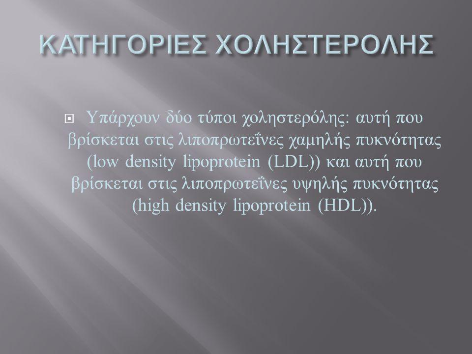  Υπάρχουν δύο τύποι χοληστερόλης : αυτή που βρίσκεται στις λιποπρωτεΐνες χαμηλής πυκνότητας (low density lipoprotein (LDL)) και αυτή που βρίσκεται στ
