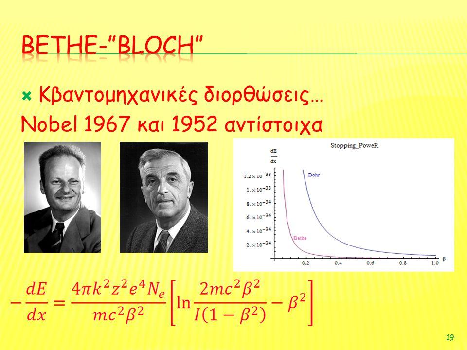  Κβαντομηχανικές διορθώσεις… Nobel 1967 και 1952 αντίστοιχα 19