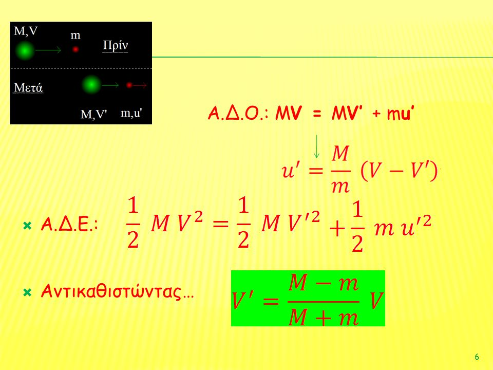  Α.Δ.Ο.: MV = MV' + mu'  Α.Δ.Ε.:  Αντικαθιστώντας… 6