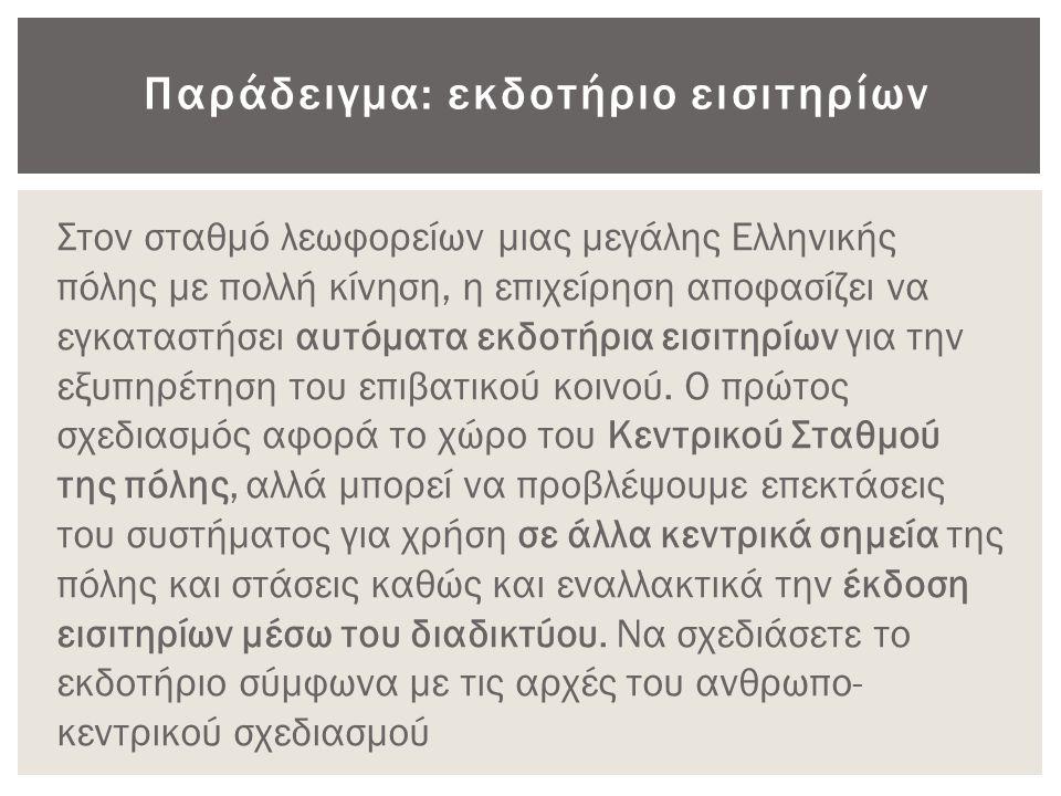 Παράδειγμα: εκδοτήριο εισιτηρίων Στον σταθμό λεωφορείων μιας μεγάλης Ελληνικής πόλης με πολλή κίνηση, η επιχείρηση αποφασίζει να εγκαταστήσει αυτόματα