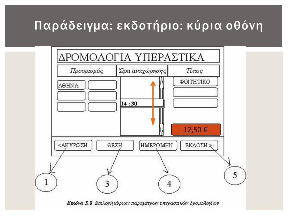 Παράδειγμα: εκδοτήριο: κύρια οθόνη 12,50 €