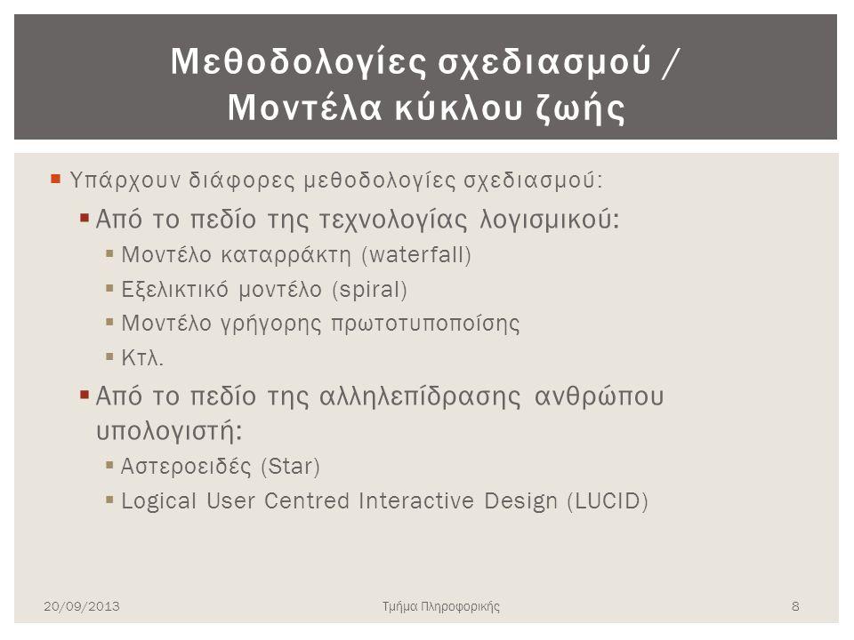  Υπάρχουν διάφορες μεθοδολογίες σχεδιασμού:  Από το πεδίο της τεχνολογίας λογισμικού:  Μοντέλο καταρράκτη (waterfall)  Εξελικτικό μοντέλο (spiral)