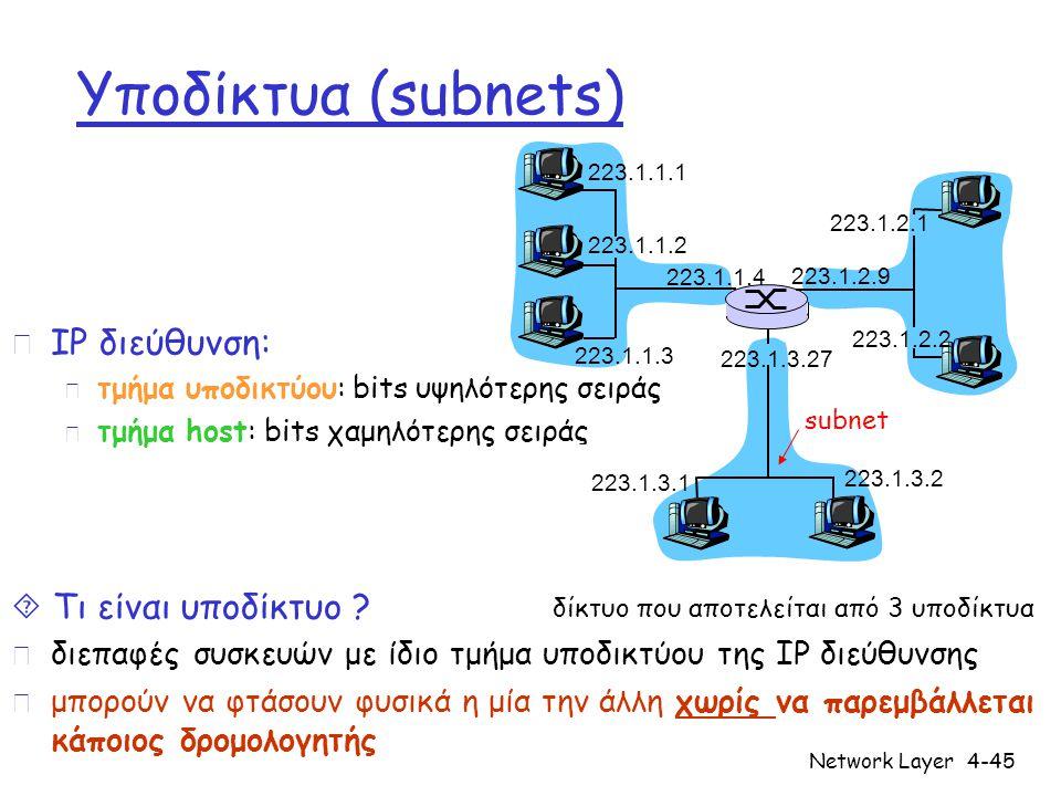 Network Layer4-45 Υποδίκτυα (subnets) r IP διεύθυνση: m τμήμα υποδικτύου: bits υψηλότερης σειράς m τμήμα host: bits χαμηλότερης σειράς  Τι είναι υποδ