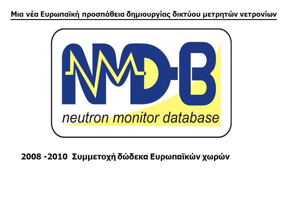 Μια νέα Ευρωπαϊκή προσπάθεια δημιουργίας δικτύου μετρητών νετρονίων 2008 -2010 Συμμετοχή δώδεκα Ευρωπαϊκών χωρών