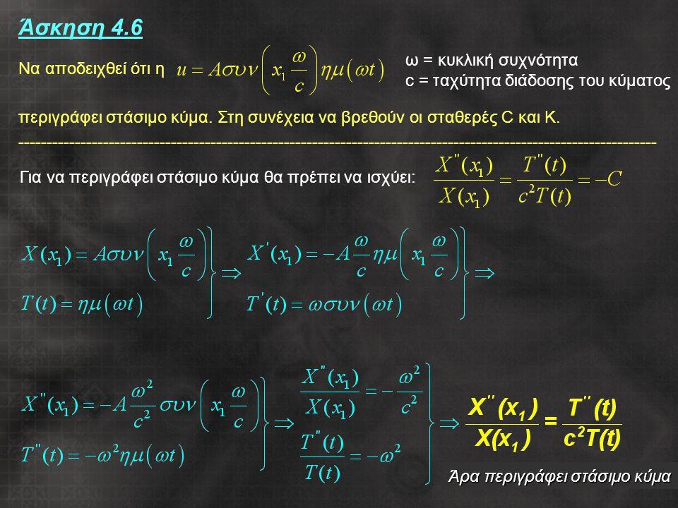 21 Άσκηση 4.6 Να αποδειχθεί ότι η περιγράφει στάσιμο κύμα.