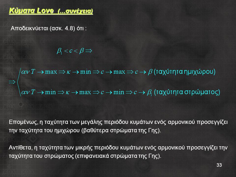 33 Κύματα Love (…συνέχεια) Επομένως, η ταχύτητα των μεγάλης περιόδου κυμάτων ενός αρμονικού προσεγγίζει την ταχύτητα του ημιχώρου (βαθύτερα στρώματα της Γης).