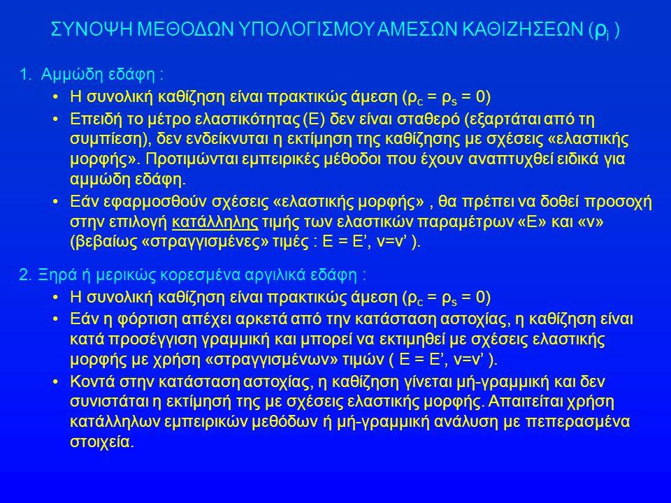 ΣΥΝΟΨΗ ΜΕΘΟΔΩΝ ΥΠΟΛΟΓΙΣΜΟΥ ΑΜΕΣΩΝ ΚΑΘΙΖΗΣΕΩΝ ( ρ i ) 1. Αμμώδη εδάφη : •Η συνολική καθίζηση είναι πρακτικώς άμεση (ρ c = ρ s = 0) •Επειδή το μέτρο ελα