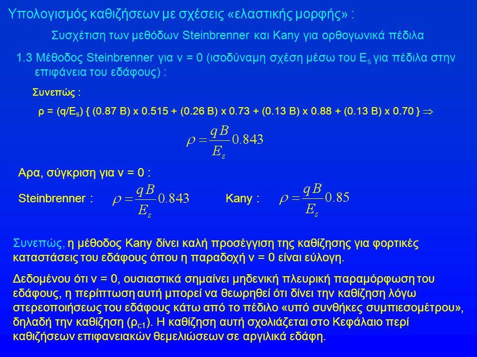 Υπολογισμός καθιζήσεων με σχέσεις «ελαστικής μορφής» : Συσχέτιση των μεθόδων Steinbrenner και Kany για ορθογωνικά πέδιλα 1.3 Μέθοδος Steinbrenner για