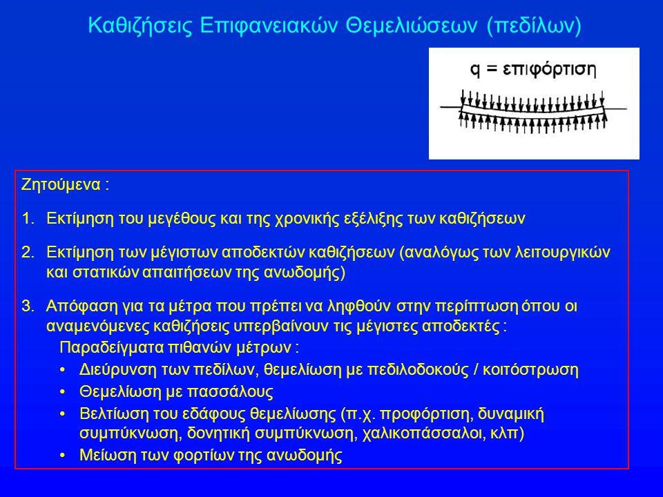 Ζητούμενα : 1.Εκτίμηση του μεγέθους και της χρονικής εξέλιξης των καθιζήσεων 2.Εκτίμηση των μέγιστων αποδεκτών καθιζήσεων (αναλόγως των λειτουργικών κ