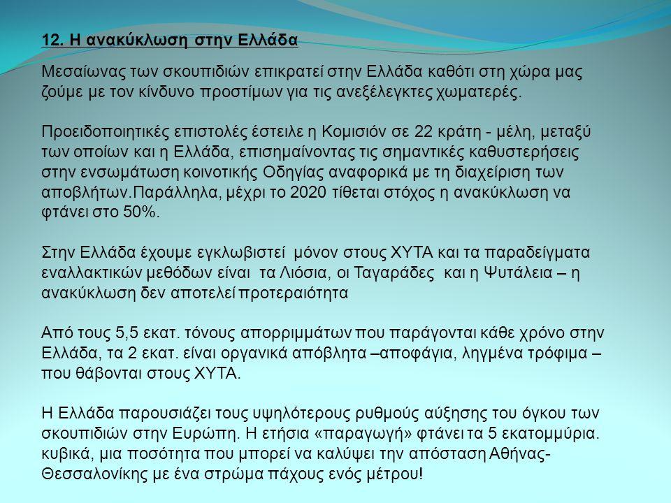 12. Η ανακύκλωση στην Ελλάδα Μεσαίωνας των σκουπιδιών επικρατεί στην Ελλάδα καθότι στη χώρα µας ζούμε µε τον κίνδυνο προστίμων για τις ανεξέλεγκτες χω