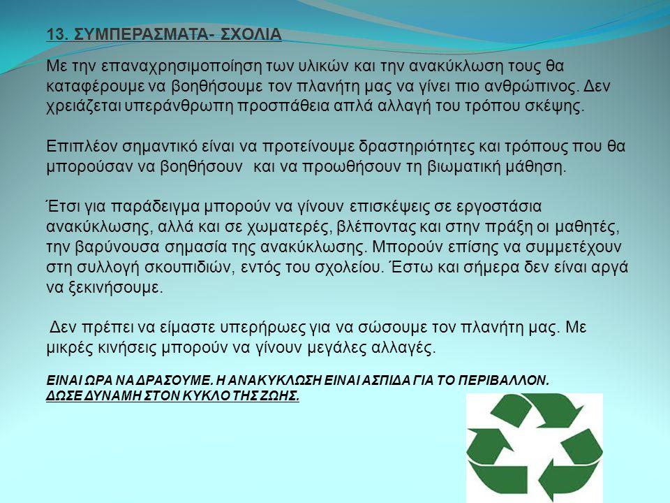13. ΣΥΜΠΕΡΑΣΜΑΤΑ- ΣΧΟΛΙΑ Με την επαναχρησιμοποίηση των υλικών και την ανακύκλωση τους θα καταφέρουμε να βοηθήσουμε τον πλανήτη μας να γίνει πιο ανθρώπ