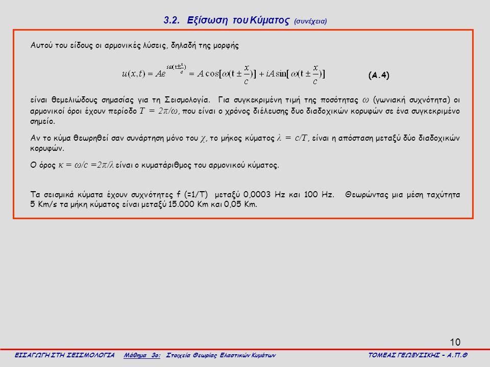 10 3.2. Εξίσωση του Κύματος (συνέχεια) Αυτού του είδους οι αρμονικές λύσεις, δηλαδή της μορφής ΕΙΣΑΓΩΓΗ ΣΤΗ ΣΕΙΣΜΟΛΟΓΙΑ Μάθημα 3ο: Στοιχεία Θεωρίας Ελ