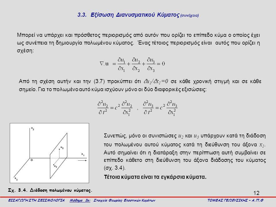 12 3.3. Εξίσωση Διανυσματικού Κύματος (συνέχεια) Μπορεί να υπάρχει και πρόσθετος περιορισμός από αυτόν που ορίζει το επίπεδο κύμα ο οποίος έχει ως συν