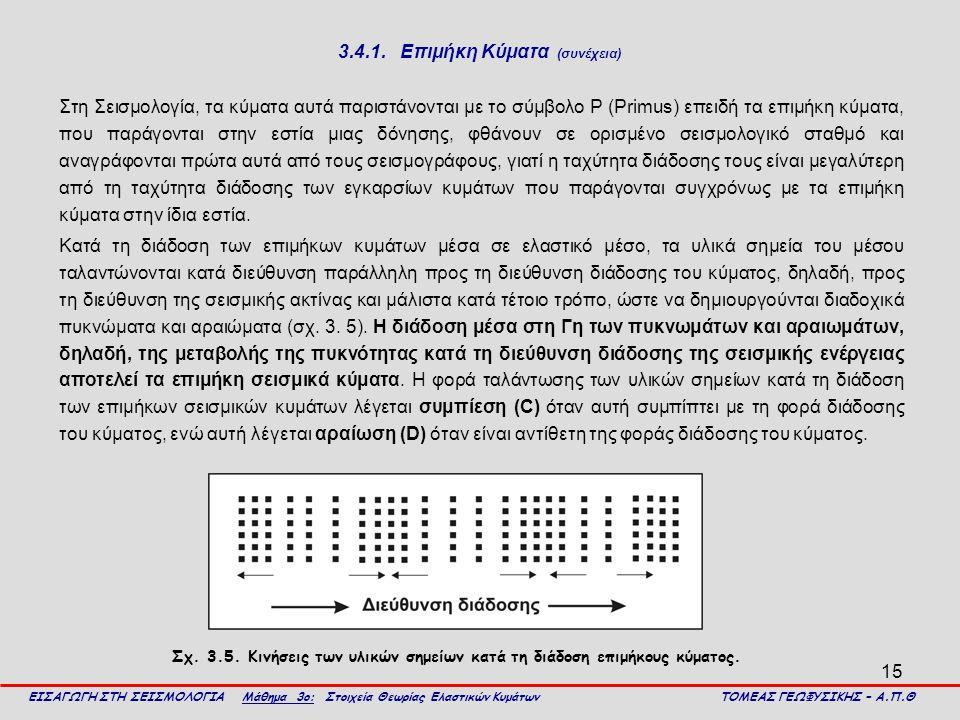 15 3.4.1. Επιμήκη Κύματα (συνέχεια) Στη Σεισμολογία, τα κύματα αυτά παριστάνονται με το σύμβολο Ρ (Primus) επειδή τα επιμήκη κύματα, που παράγονται στ