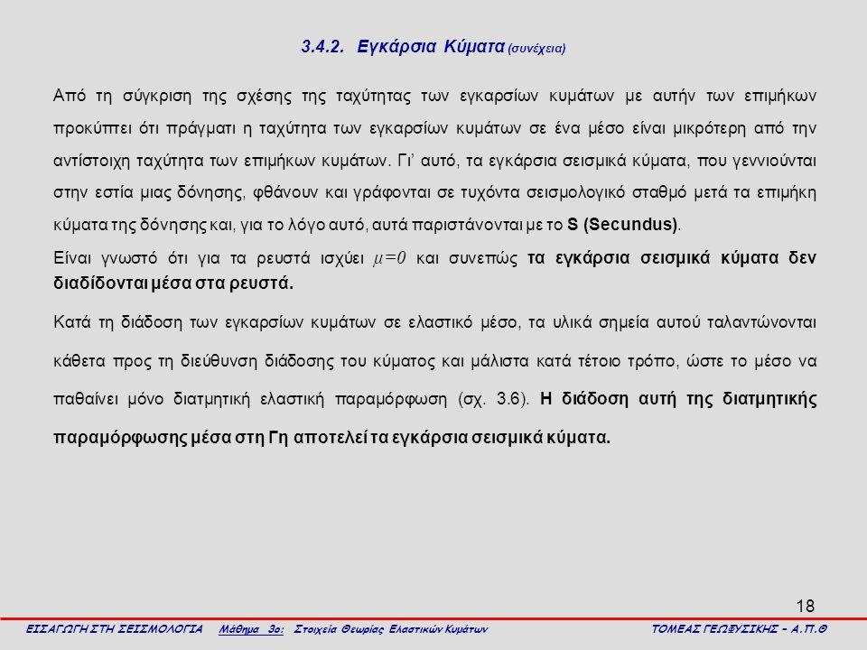 18 3.4.2. Εγκάρσια Κύματα (συνέχεια) Από τη σύγκριση της σχέσης της ταχύτητας των εγκαρσίων κυμάτων με αυτήν των επιμήκων προκύπτει ότι πράγματι η ταχ