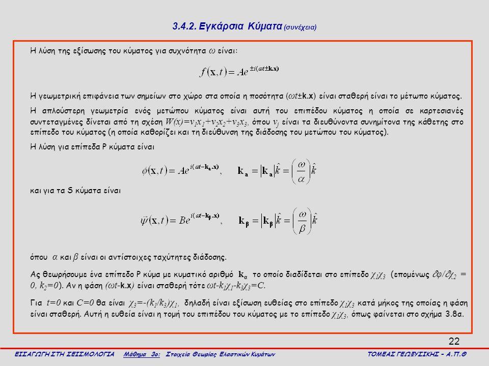 22 3.4.2. Εγκάρσια Κύματα (συνέχεια) Η λύση της εξίσωσης του κύματος για συχνότητα ω είναι: ΕΙΣΑΓΩΓΗ ΣΤΗ ΣΕΙΣΜΟΛΟΓΙΑ Μάθημα 3ο: Στοιχεία Θεωρίας Ελαστ