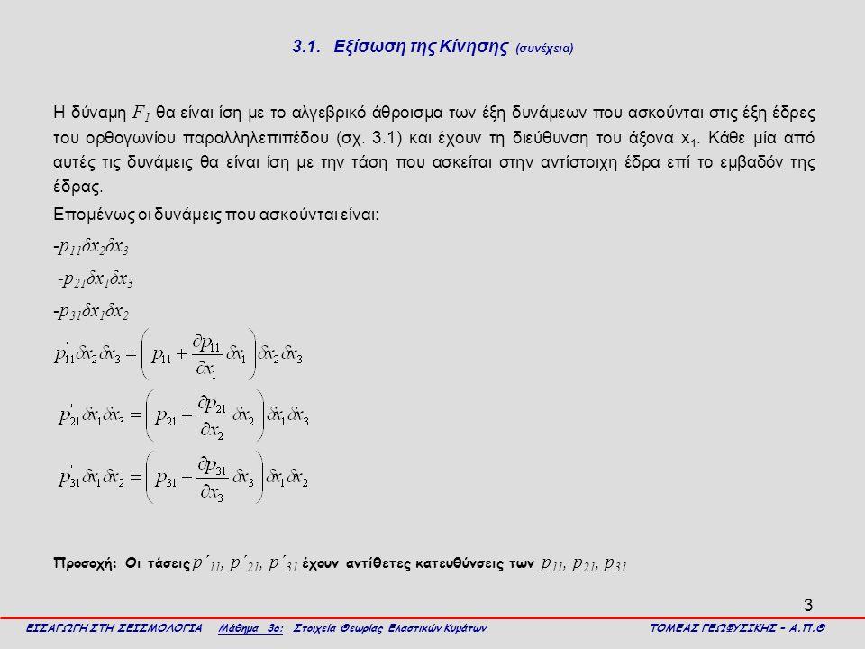 3 3.1. Εξίσωση της Κίνησης (συνέχεια) Η δύναμη F 1 θα είναι ίση με το αλγεβρικό άθροισμα των έξη δυνάμεων που ασκούνται στις έξη έδρες του ορθογωνίου