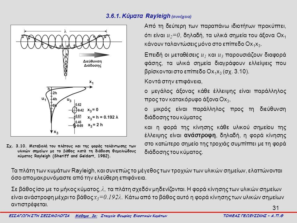 31 3.6.1. Κύματα Rayleigh (συνέχεια) Από τη δεύτερη των παραπάνω ιδιοτήτων προκύπτει, ότι είναι u 2 =0, δηλαδή, τα υλικά σημεία του άξονα Οx 1 κάνουν