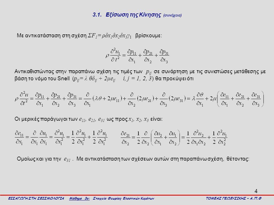 4 3.1. Εξίσωση της Κίνησης (συνέχεια) Με αντικατάσταση στη σχέση ΣF 1 = ρδx 1 δx 2 δx 3 γ 1 βρίσκουμε: ΕΙΣΑΓΩΓΗ ΣΤΗ ΣΕΙΣΜΟΛΟΓΙΑ Μάθημα 3ο: Στοιχεία Θε