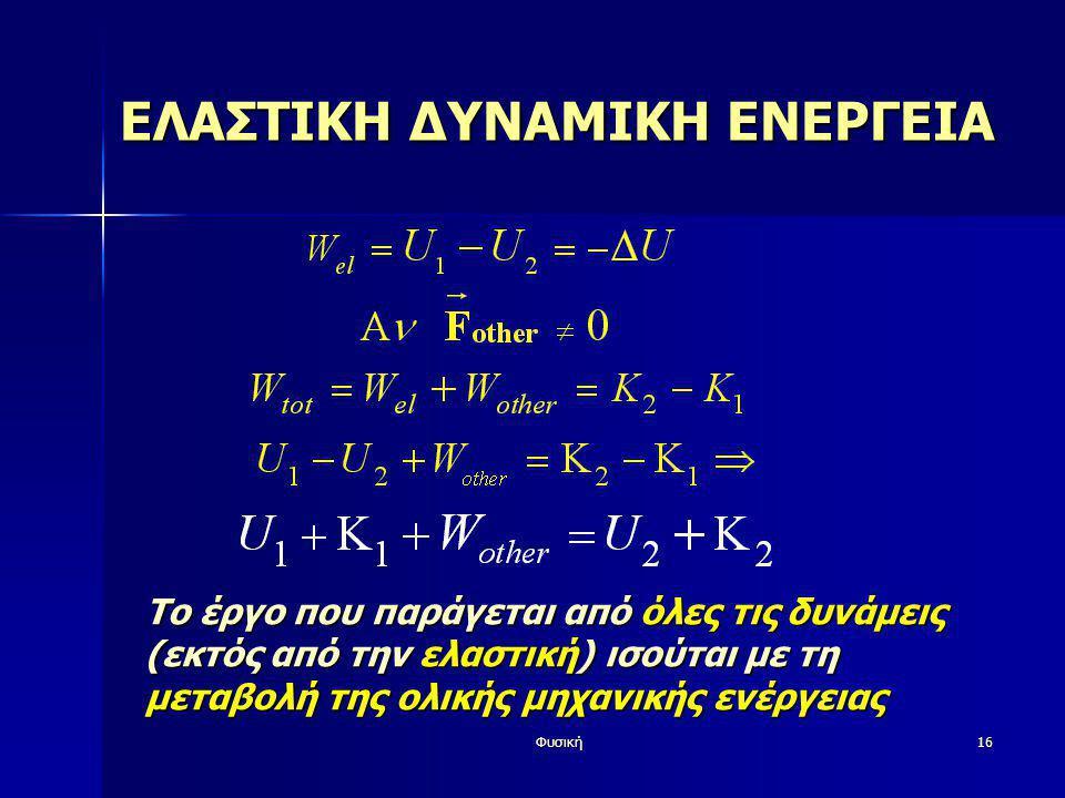 Φυσική16 ΕΛΑΣΤΙΚΗ ΔΥΝΑΜΙΚΗ ΕΝΕΡΓΕΙΑ Το έργο που παράγεται από όλες τις δυνάμεις (εκτός από την ελαστική) ισούται με τη μεταβολή της ολικής μηχανικής ε