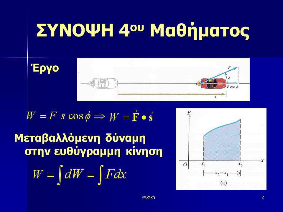 Φυσική33 ΕΛΑΣΤΙΚΟΤΗΤΑ Y: Δυσκολία επιμήκυνσης  Μόλυβδος: 0.16*10 11 Pa = 0.16Mbar  Ατσάλι: 2.0*10 11 Pa = 2.0Mbar  Βολφράμιο: 3.6*10 11 Pa = 3.6Mbar Δl/2 Δw/2 Λόγος Poisson σ: Αναλογία παραμόρφωσης σε διαφορετικές διαστάσεις Τιμές: 0.1-0.4 (0.5 υγρά) Νόμος Hooke l0l0l0l0 w0w0w0w0