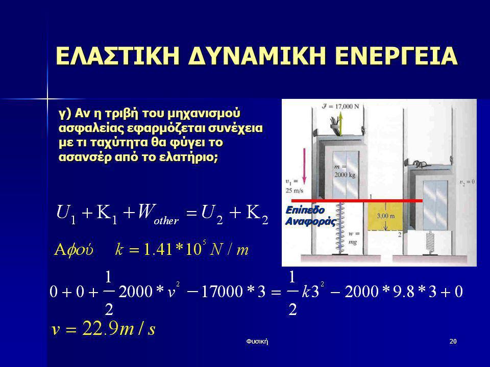 Φυσική20 ΕΛΑΣΤΙΚΗ ΔΥΝΑΜΙΚΗ ΕΝΕΡΓΕΙΑ γ) Αν η τριβή του μηχανισμού ασφαλείας εφαρμόζεται συνέχεια με τι ταχύτητα θα φύγει το ασανσέρ από το ελατήριο; Επ