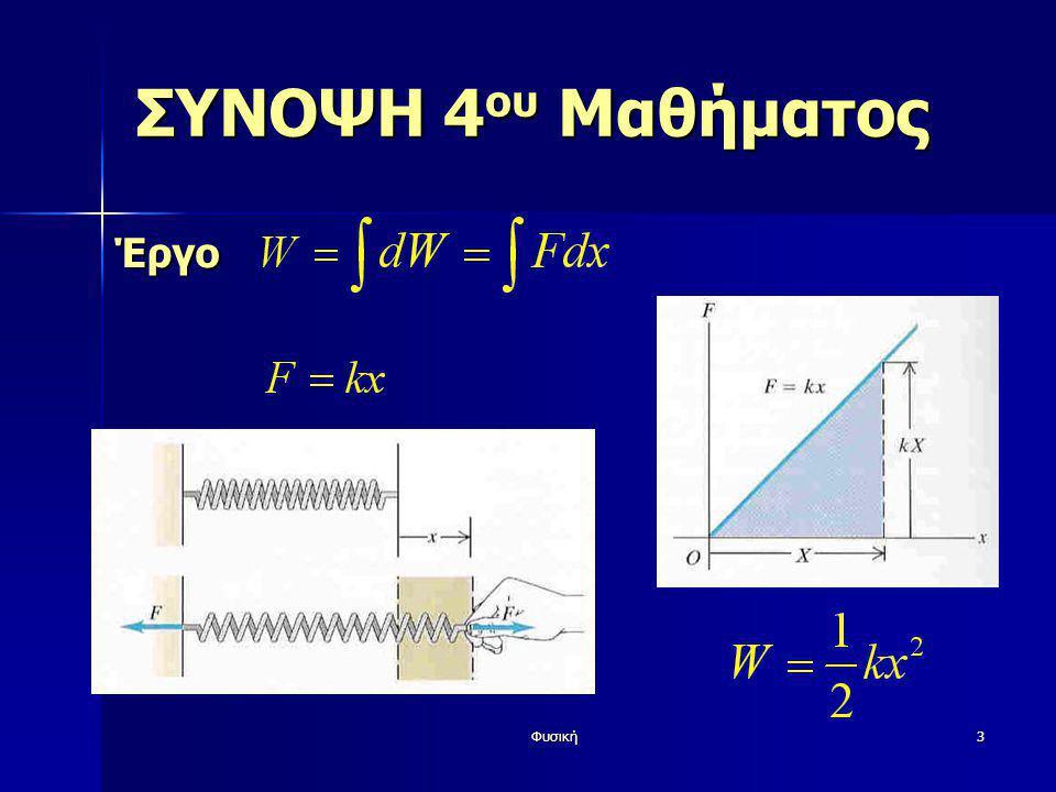 Φυσική4 ΣΥΝΟΨΗ 4 ου Μαθήματος Έργο με μεταβαλλόμενη δύναμη στη μη ευθύγραμμη κίνηση (γενίκευση)