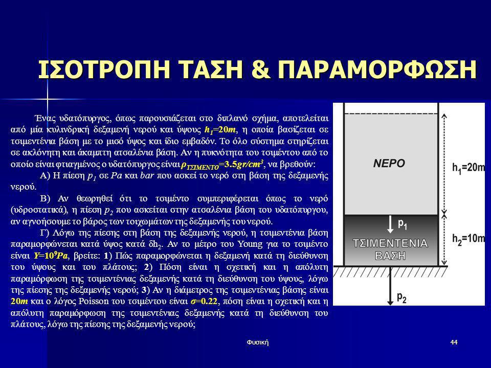 Φυσική44 ΙΣΟΤΡΟΠΗ ΤΑΣΗ & ΠΑΡΑΜΟΡΦΩΣΗ Ένας υδατόπυργος, όπως παρουσιάζεται στο διπλανό σχήμα, αποτελείται από μία κυλινδρική δεξαμενή νερού και ύψους h