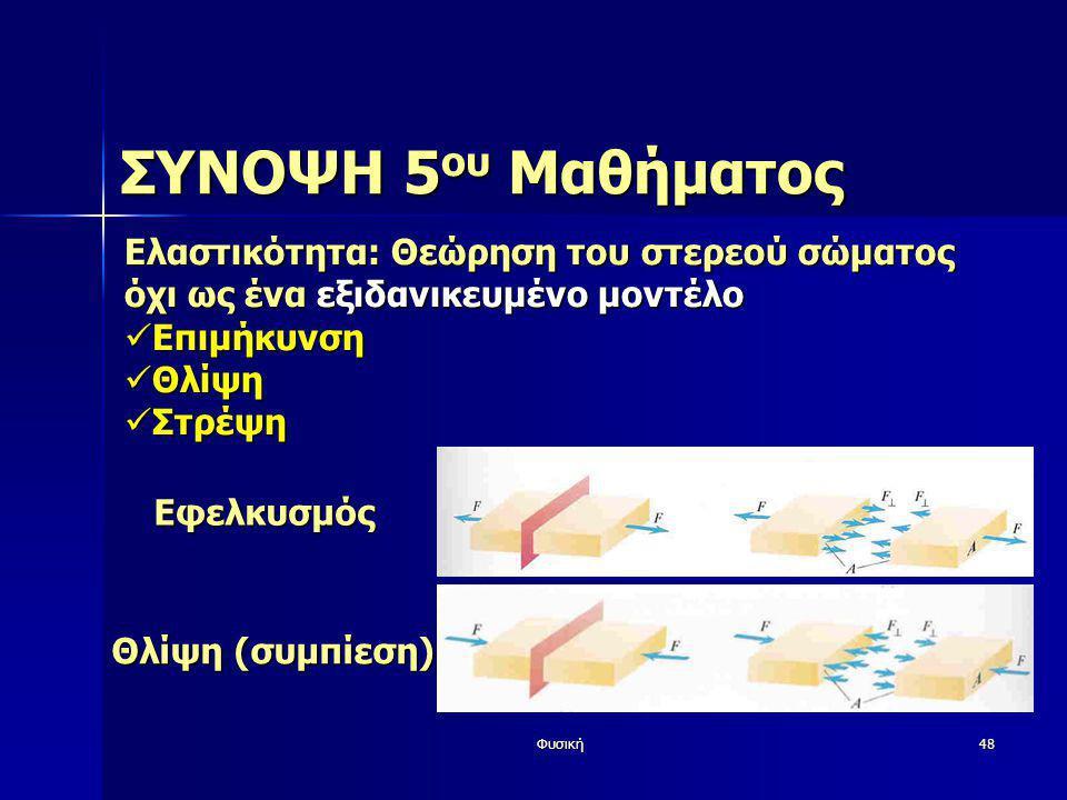 Φυσική48 ΣΥΝΟΨΗ 5 ου Μαθήματος Ελαστικότητα: Θεώρηση του στερεού σώματος όχι ως ένα εξιδανικευμένο μοντέλο  Επιμήκυνση  Θλίψη  Στρέψη Εφελκυσμός Θλ
