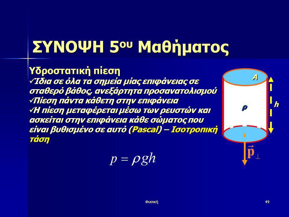 Φυσική49 ΣΥΝΟΨΗ 5 ου Μαθήματος Υδροστατική πίεση  Ίδια σε όλα τα σημεία μίας επιφάνειας σε σταθερό βάθος, ανεξάρτητα προσανατολισμού  Πίεση πάντα κά