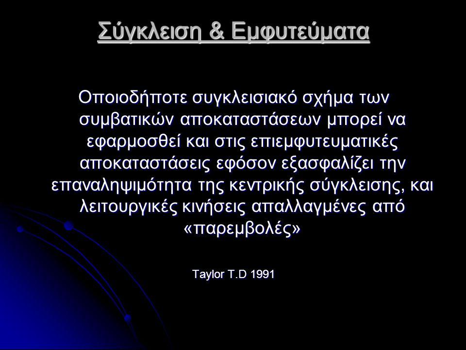 Σύγκλειση & Εμφυτεύματα Οποιοδήποτε συγκλεισιακό σχήμα των συμβατικών αποκαταστάσεων μπορεί να εφαρμοσθεί και στις επιεμφυτευματικές αποκαταστάσεις εφόσον εξασφαλίζει την επαναληψιμότητα της κεντρικής σύγκλεισης, και λειτουργικές κινήσεις απαλλαγμένες από «παρεμβολές» Taylor T.D 1991