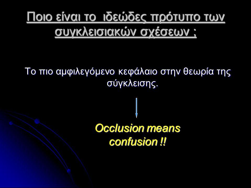 Ποιο είναι το ιδεώδες πρότυπο των συγκλεισιακών σχέσεων ; «Το ιδεώδες πρότυπο των συγκλεισακών σχέσεων τόσο σε φυσικούς φραγμούς όσο και σε αποκαταστάσεις έχει προκαλέσει ιδιαίτερη σύγχυση με την διατύπωση διαφόρων θεωριών προτάσεων και τεχνικών για την επίτευξή του ωστόσο ακόμη και σήμερα δεν έχει ακόμη ξεκαθαρισθεί» «Το ιδεώδες πρότυπο των συγκλεισακών σχέσεων τόσο σε φυσικούς φραγμούς όσο και σε αποκαταστάσεις έχει προκαλέσει ιδιαίτερη σύγχυση με την διατύπωση διαφόρων θεωριών προτάσεων και τεχνικών για την επίτευξή του ωστόσο ακόμη και σήμερα δεν έχει ακόμη ξεκαθαρισθεί» Mohl & Davidson 1988, Turp et al 2008, Klineberg 2004 «Δεν έχει αποδειχτεί ότι οι πλέον ακριβείς και σύνθετες μέθοδοι καταγραφών,αναρτήσεις και πολύπλοκοι αρθρωτήρες οδηγούν σε καλύτερο αποτέλεσμα.