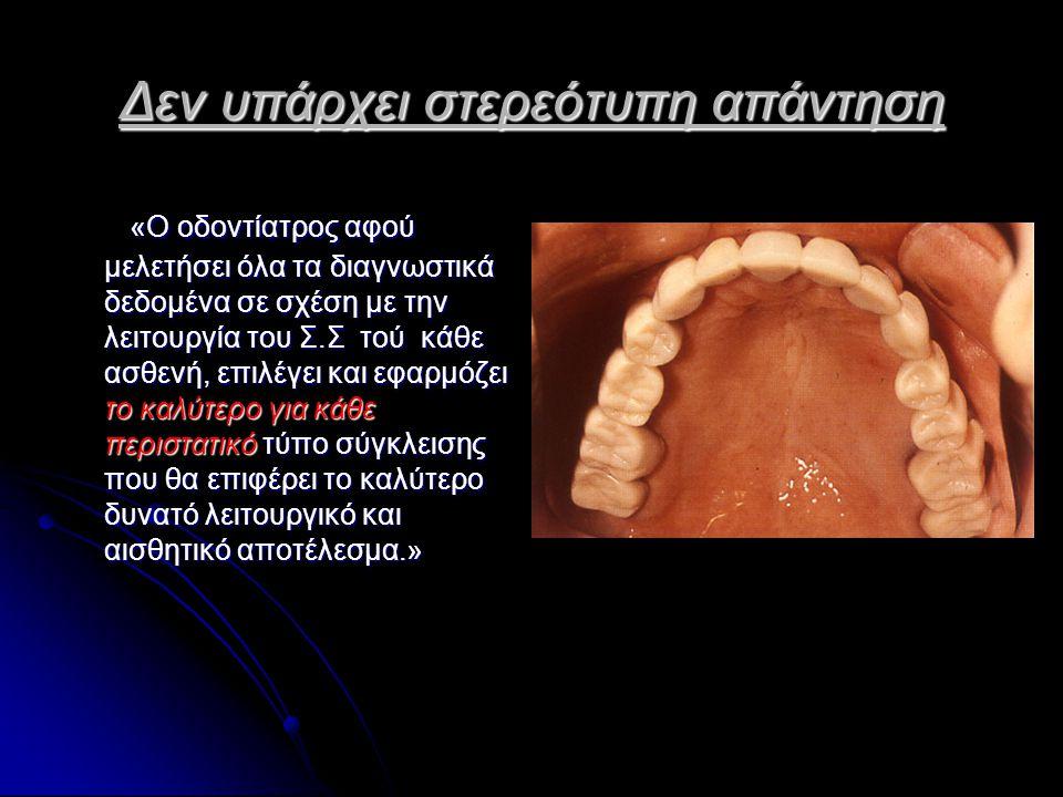 Δεν υπάρχει στερεότυπη απάντηση «Ο οδοντίατρος αφού μελετήσει όλα τα διαγνωστικά δεδομένα σε σχέση με την λειτουργία του Σ.Σ τού κάθε ασθενή, επιλέγει και εφαρμόζει το καλύτερο για κάθε περιστατικό τύπο σύγκλεισης που θα επιφέρει το καλύτερο δυνατό λειτουργικό και αισθητικό αποτέλεσμα.» «Ο οδοντίατρος αφού μελετήσει όλα τα διαγνωστικά δεδομένα σε σχέση με την λειτουργία του Σ.Σ τού κάθε ασθενή, επιλέγει και εφαρμόζει το καλύτερο για κάθε περιστατικό τύπο σύγκλεισης που θα επιφέρει το καλύτερο δυνατό λειτουργικό και αισθητικό αποτέλεσμα.»