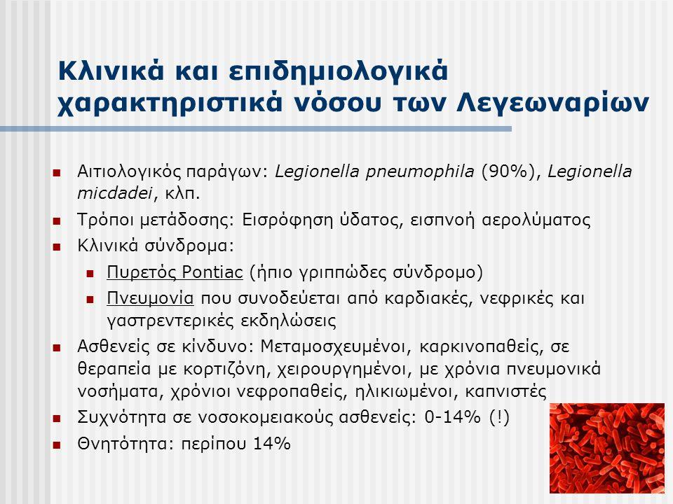 Κλινικά και επιδημιολογικά χαρακτηριστικά νόσου των Λεγεωναρίων  Αιτιολογικός παράγων: Legionella pneumophila (90%), Legionella micdadei, κλπ.  Τρόπ