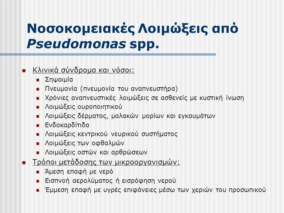 Νοσοκομειακές Λοιμώξεις από Pseudomonas spp.  Κλινικά σύνδρομα και νόσοι:  Σηψαιμία  Πνευμονία (πνευμονία του αναπνευστήρα)  Χρόνιες αναπνευστικές