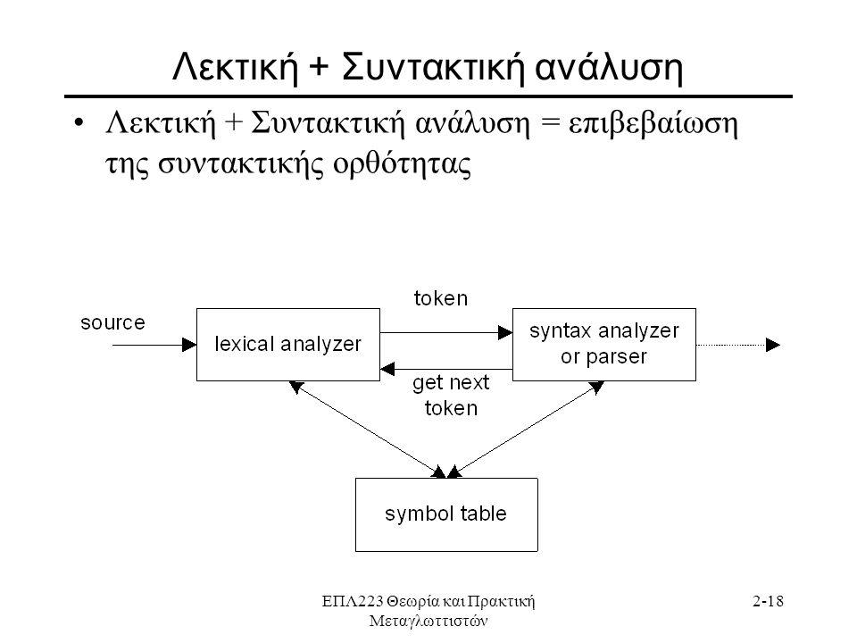 ΕΠΛ223 Θεωρία και Πρακτική Μεταγλωττιστών 2-18 Λεκτική + Συντακτική ανάλυση •Λεκτική + Συντακτική ανάλυση = επιβεβαίωση της συντακτικής ορθότητας