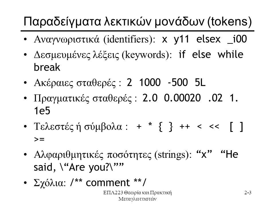 ΕΠΛ223 Θεωρία και Πρακτική Μεταγλωττιστών 2-3 Παραδείγματα λεκτικών μονάδων (tokens) •Αναγνωριστικά (identifiers): x y11 elsex _i00 •Δεσμευμένες λέξεις (keywords): if else while break •Ακέραιες σταθερές : 2 1000 -500 5L •Πραγματικές σταθερές : 2.0 0.00020.02 1.