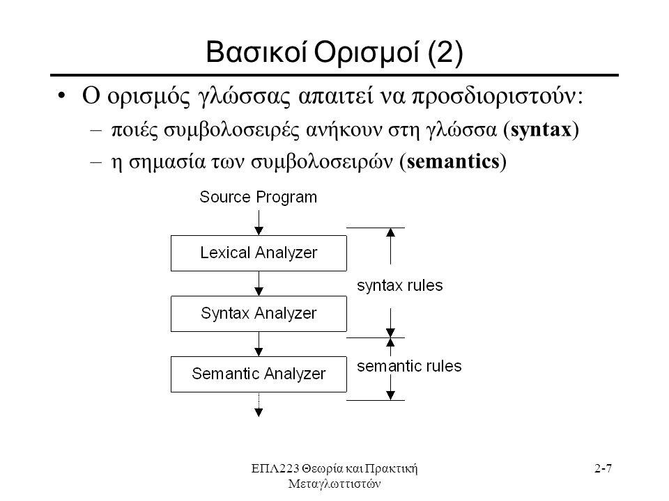 ΕΠΛ223 Θεωρία και Πρακτική Μεταγλωττιστών 2-7 Βασικοί Ορισμοί (2) •Ο ορισμός γλώσσας απαιτεί να προσδιοριστούν: –ποιές συμβολοσειρές ανήκουν στη γλώσσα (syntax) –η σημασία των συμβολοσειρών (semantics)