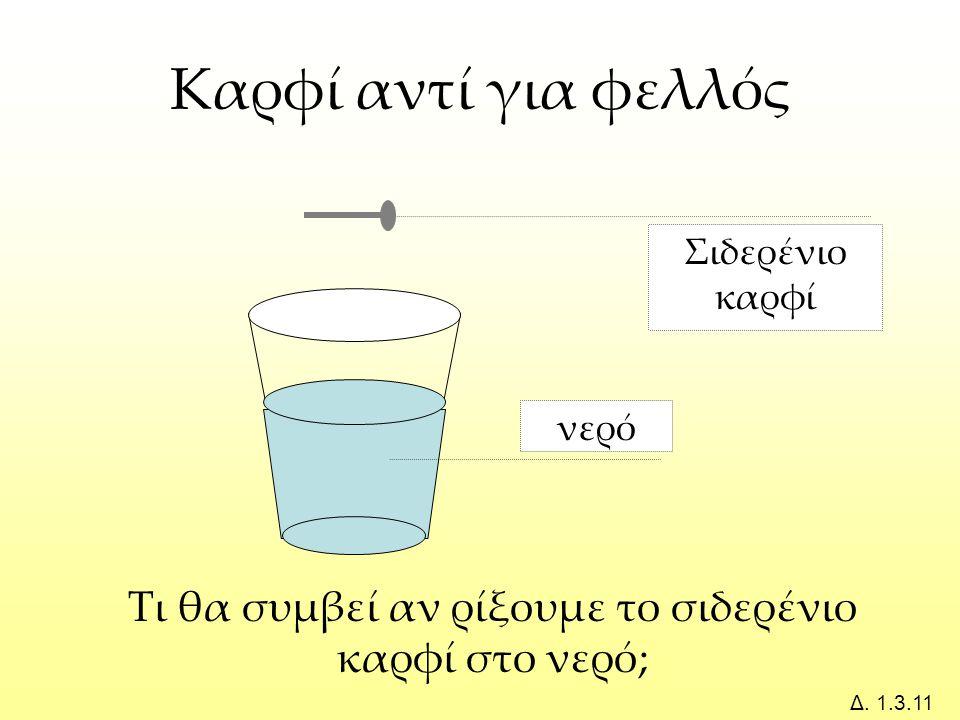 νερό Σιδερένιο καρφί Τι θα συμβεί αν ρίξουμε το σιδερένιο καρφί στο νερό; Δ.