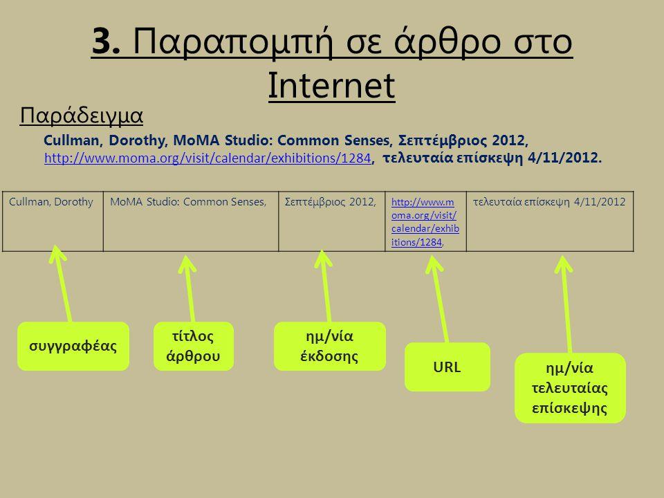 3. Παραπομπή σε άρθρο στο Internet Παράδειγμα Cullman, Dorothy, MoMA Studio: Common Senses, Σεπτέμβριος 2012, http://www.moma.org/visit/calendar/exhib