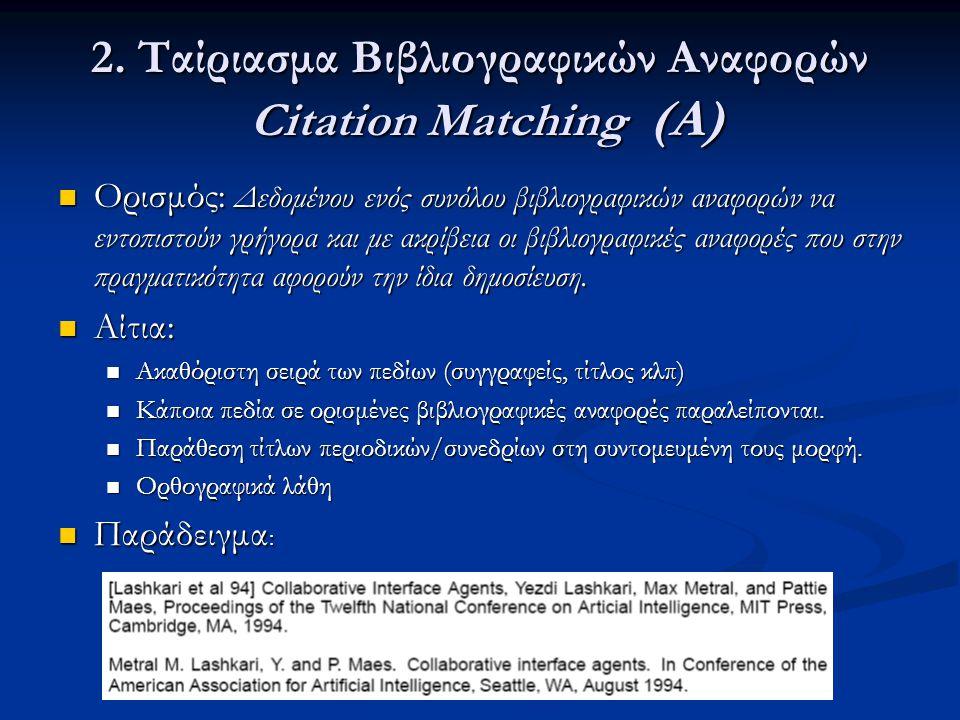 2. Ταίριασμα Βιβλιογραφικών Αναφορών Citation Matching (Α)  Ορισμός: Δεδομένου ενός συνόλου βιβλιογραφικών αναφορών να εντοπιστούν γρήγορα και με ακρ