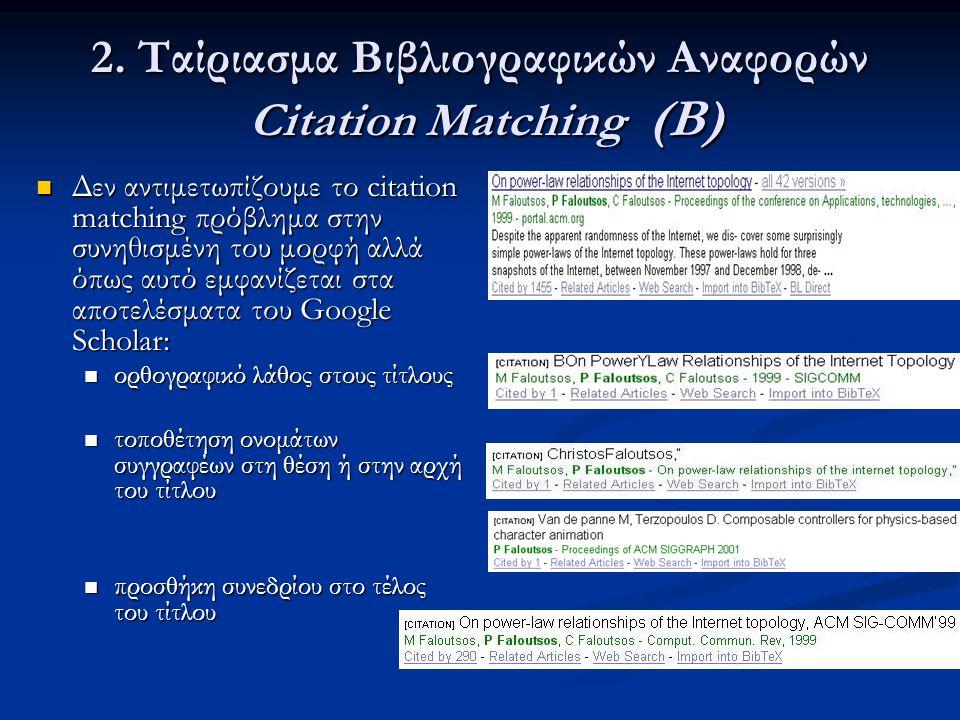 2. Ταίριασμα Βιβλιογραφικών Αναφορών Citation Matching (Β)  Δεν αντιμετωπίζουμε το citation matching πρόβλημα στην συνηθισμένη του μορφή αλλά όπως αυ