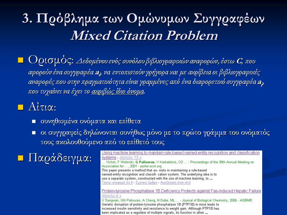 3. Πρόβλημα των Ομώνυμων Συγγραφέων Mixed Citation Problem  Ορισμός : Δεδομένου ενός συνόλου βιβλιογραφικών αναφορών, έστω C, που αφορούν ένα συγγραφ