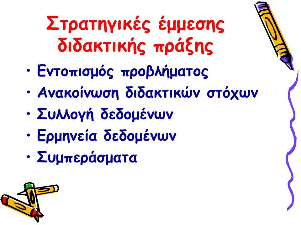 Στρατηγικές έμμεσης διδακτικής πράξης •Εντοπισμός προβλήματος •Ανακοίνωση διδακτικών στόχων •Συλλογή δεδομένων •Ερμηνεία δεδομένων •Συμπεράσματα