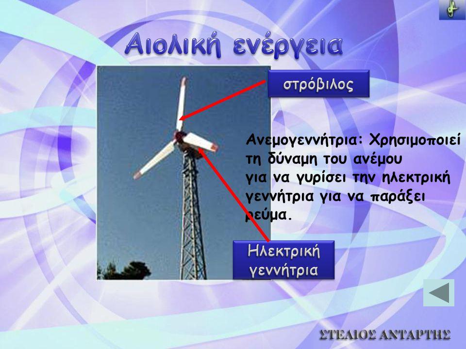 Ανεμογεννήτρια: Χρησιμοποιεί τη δύναμη του ανέμου για να γυρίσει την ηλεκτρική γεννήτρια για να παράξει ρεύμα.