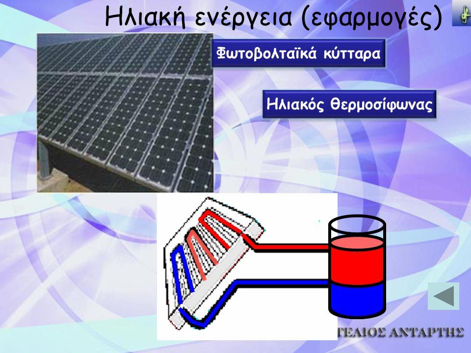 Ηλιακή ενέργεια (εφαρμογές) Φωτοβολταϊκά κύτταρα Ηλιακός θερμοσίφωνας