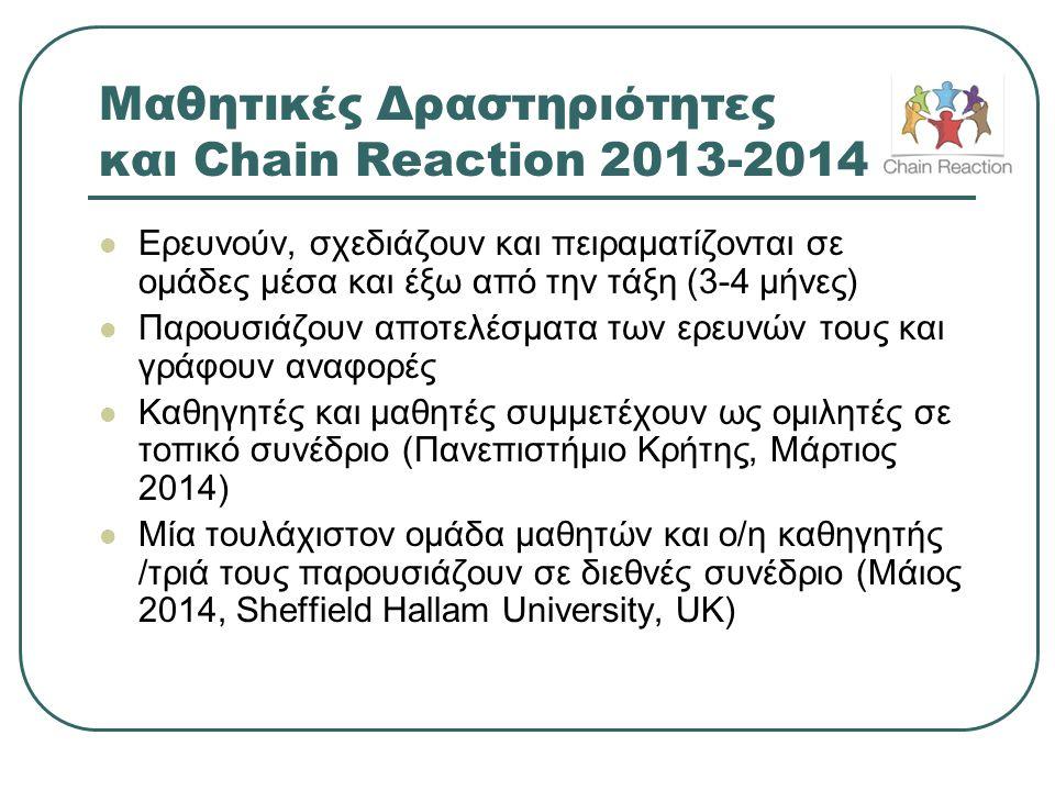 Μαθητικές Δραστηριότητες και Chain Reaction 2013-2014  Ερευνούν, σχεδιάζουν και πειραματίζονται σε ομάδες μέσα και έξω από την τάξη (3-4 μήνες)  Παρ