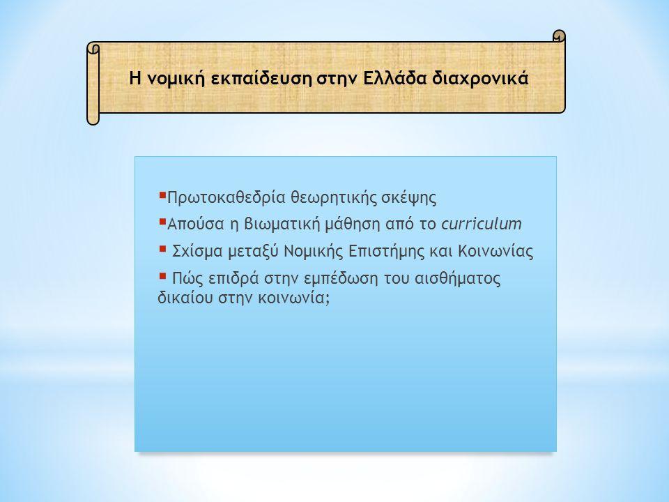 Η νομική εκπαίδευση στην Ελλάδα διαχρονικά  Πρωτοκαθεδρία θεωρητικής σκέψης  Απούσα η βιωματική μάθηση από το curriculum  Σχίσμα μεταξύ Νομικής Επιστήμης και Κοινωνίας  Πώς επιδρά στην εμπέδωση του αισθήματος δικαίου στην κοινωνία;