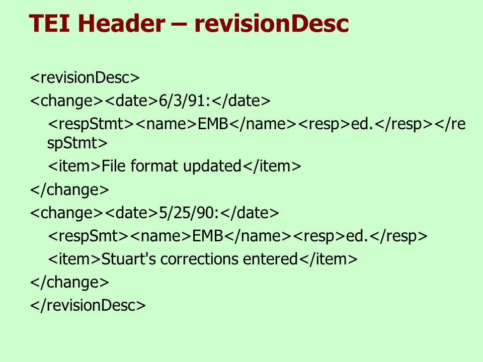 TEI Header – revisionDesc 6/3/91: EMB ed. File format updated 5/25/90: EMB ed.