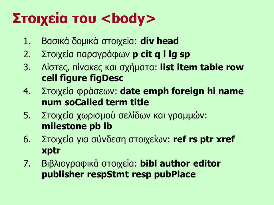 Στοιχεία του 1.Βασικά δομικά στοιχεία: div head 2.Στοιχεία παραγράφων p cit q l lg sp 3.Λίστες, πίνακες και σχήματα: list item table row cell figure figDesc 4.Στοιχεία φράσεων: date emph foreign hi name num soCalled term title 5.Στοιχεία χωρισμού σελίδων και γραμμών: milestone pb lb 6.Στοιχεία για σύνδεση στοιχείων: ref rs ptr xref xptr 7.Βιβλιογραφικά στοιχεία: bibl author editor publisher respStmt resp pubPlace